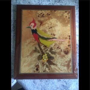 Wood mid century Ercolano picture of bird.